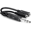 Y-SPS-2MFS 1/4 Inch Male TRS Stereo to Dual 3.5mm Female Stereo Y-Cable 6 Inch