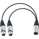 TecNec YA-104 Premium XLR Male to Dual XLR Female Y-Cable 6 Inch