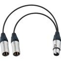 TecNec YA-105 XLR Female to Dual XLR Male Y Cable