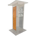 Amplivox SN354006 Clear Acrylic with Oak Panel Lectern No Sound