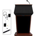 Amplivox SW3040-MH Patriot Lectern- Solid Hardwood With Fabric Top - Wireless So
