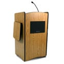 Amplivox SW3230 Wireless Multimedia Computer Lectern Handheld Mic- Medium Oak