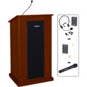 Amplivox SW470-MH Chancellor Lectern - Wireless Sound- Natural Mahogany