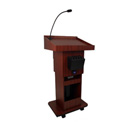 Amplivox SW505A Executive Adjustable Sound Column Lectern Walnut