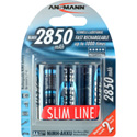 Ansmann 5035212 Mignon Ni-Mh AA 2850mAh Slimline Rechargeable Battery - Pack of 4