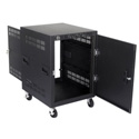 Atlas RX-14-25 25 Inch Deep 14RU Mobile Equipment Rack with Casters and Side Handles