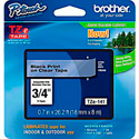 Brother TZe141 0.7 in x 26.2 ft (18 mm x 8 m) Black on Clear