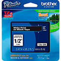 Brother TZe335 0.47in x 26.2 ft (12mm x 8m) White on Black