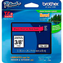 Brother TZe421 0.35 in x 26.2 ft (9mm x 8m) Black on Red