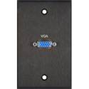 MCS BRP-1138/BA  Board Room Series 1-Gang Black Anodized Wall Plate with 1 High Density 15-Pin VGA Barrel Connector