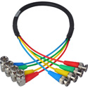 Laird 6G/12G (2k/4k) HD-SDI 4-Channel Right Angle BNC Video Cable - 18 Inch