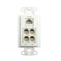 Channel Plus Data/Phone/Coax Wallplate - (1) RJ45 and (4) RJ25 - White