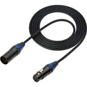 Sescom DMX-5M3F-15 Lighting Control Cable 5-Pin XLR Male to 3-Pin XLR Female Black - 15 Foot