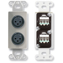 RDL DS-XLR2F Dual XLR 3-pin Female Jacks on Decora Wall Plate - Solder type - Stainless steel