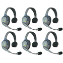 Eartec HUB6S UltraLITE & HUB 6 Person Intercom System with 6 Single Headsets