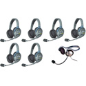 Eartec HUB7DMON UltraLITE & HUB 7 Person Intercom System with 6 Double Headsets/1 Monarch Headset