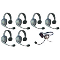 Eartec HUB7SMON UltraLITE & HUB 7 Person Intercom System with 6 Single Headset/1 Monarch Headset