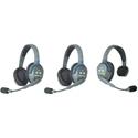 Eartec UL312 UltraLITE 3 Person Intercom System with 1 Single/2 Double Headsets and Li-Ion Batteries