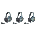 Eartec UL3D UltraLITE 3 Person Intercom System with 3 Double Headsets