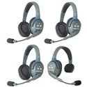 Eartec UL413 UltraLITE 4 Person Intercom System with 1 Single/3 Double Headsets
