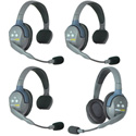 Eartec UL431 UltraLITE 4 Person Intercom System with 3 Single/1 Double Headsets and Li-Ion Batteries