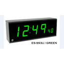 ESE ES 993U Remote Clock Display with Rackmount Black Faceplate and Green LED