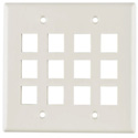 HellermannTyton 12 Port Dual Gang Flush Mount White Wall Plate