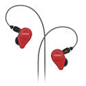 Fostex TE-04BK Carmine Red In-Ear Headphones with Detachable Cable and Mic