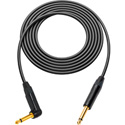 Canare GS-6 Instrument Cable Black with Neutrik XS 1/4-1/4 RA Phone Plugs - 3Ft