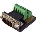 Male HD15 VGA to Screw Terminal Block Chassis Mount