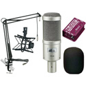 A Heil PR40 Mic Kit with PRSM-B Shock Mount - Radial McBoost - MXL BCD Stand w/ 12ft Cable & Mic Boom - Wind Screen