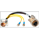 Camplex LEMO EDW to Dual ST & 5-Pin Amp Power Fiber Breakout Cable 6 Inch