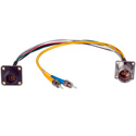 Camplex LEMO EDW to Dual ST & 8-Pin RG Chassis Fiber Breakout Cable 6 Inch