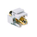 HellermannTyton RCA Female To Female Keystone Module with White Stripe -White