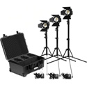 Kinotehnik PRACT602K4 x3 PRACT602 Bi-Color Smart LED Fresnel Lights with Stands A/C Adapter Barn Doors and Case