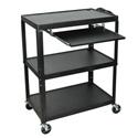 Luxor AVJ42XLKB Steel Adjustable Height Extra Large AV Cart with Keyboard Shelf