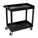 Luxor EC11-B E-Series 2 Shelf Black Utility Cart