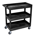 Luxor EC111-B E-Series 3 Shelf Black Utility Cart