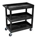Luxor EC111-B E-Series 3 Shelf Black Utility Cart