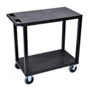 Luxor EC22HD-B Two Shelf Utility Cart