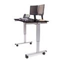 Luxor STANDE-48-AG/BO 48 Inch Electric Standing Desk - Silver Frame/Black Oak