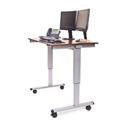 Luxor STANDE-48-AG/DW 48 Inch Electric Standing Desk - Silver Frame/Dark Walnut