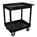 Luxor TC11SP6-B Large Tub Cart - Two Shelves 6 Inch Casters - Black