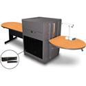 Marvel MVMTPA4830OKDT-H Peninsula Table/Media Cntr- Acrylic Door; Hand Mic - Oak