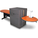 Marvel MVMTPM4830CHDT Peninsula Table/Media Center - Steel Door - Cherry