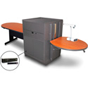 Marvel MVMTPM4830CHDT-H Peninsula Table/Media Cntr- Steel Door; Hand Mic- Cherry
