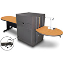 Marvel MVMTPM4830OKDT-E Peninsula Table/Media Center - Steel Door; Ear Mic - Oak