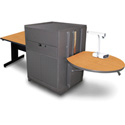 Marvel MVMTRM3630OKDT Rectangular Table/Media Center - Steel Door - Oak
