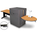 Marvel MVMTRM4830OKDT-H Rectangle Table/Media Cntr- Steel Door; Hand Mic - Oak
