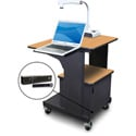 Marvel MVPSM2432OKDT-LH Benchmark Cart - Metal Door; Lap Shelf; Hand Mic - Oak